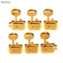 Vintage Style Semiclosed 6-in-line Electric Guitar Tuner Tuning Key Pegs Machine Head Set Right Hand Guitar Replacement, Gold