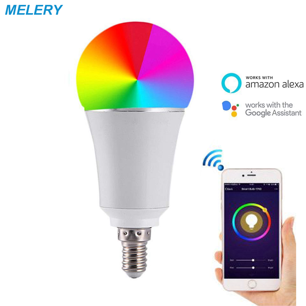 WiFi Smart Light LED Bulb E26 60W Equivalent Multicolored Dimmable RGBW Remote Control Compatible with Alexa Echo,Google Home