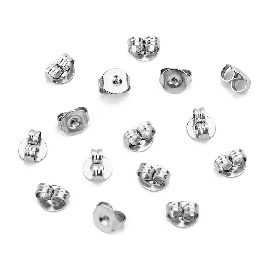 100pcs/lot 4.5x5mm Silver Tone Stainless Steel Nut Clutch Stud Earrings Posts & Backs Fittings Ear Stoppers Jewelry Making F2216