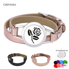 Rose Flower fashion diffuser locket bracelet jewelry stainless steel leather bracelet for men and women(China)