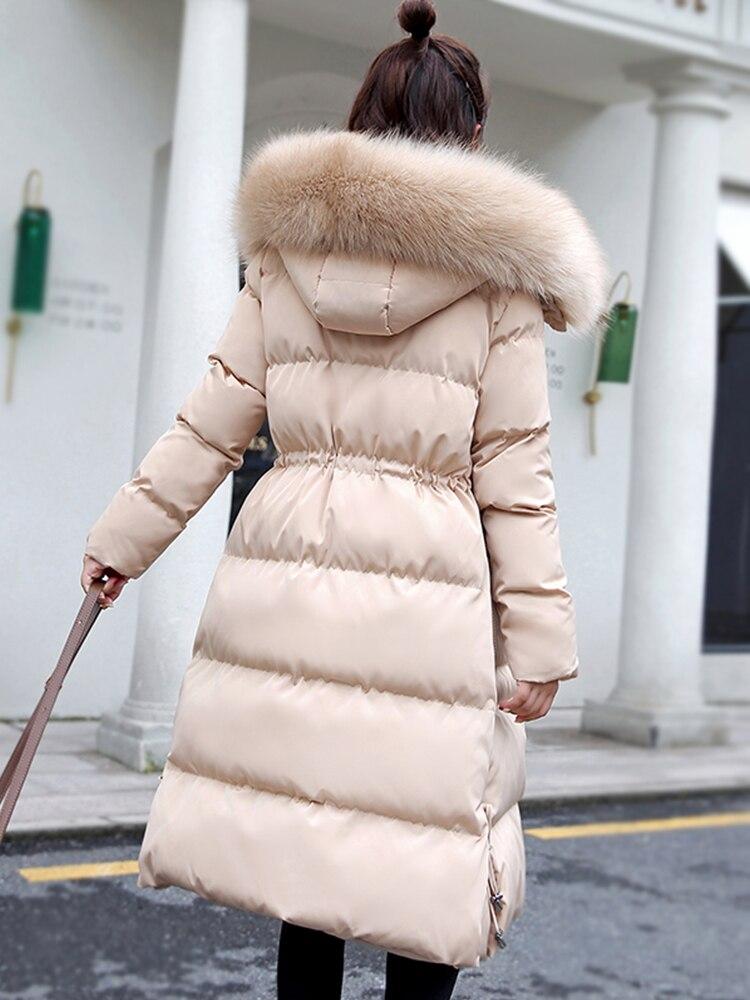 Femme Fourrure D'hiver Coréenne Blue Long Parka Light Ayunsue Capuchon Hiver De black Kj1069 beige pink Manteau Vestes Femmes 2018 Puffer Veste Parkas PUnqS5S6