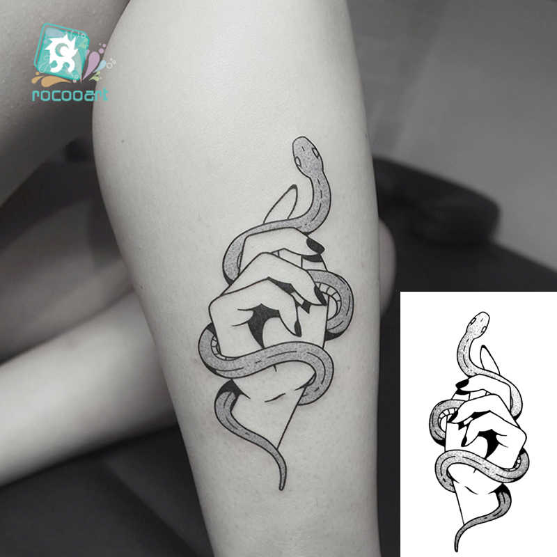 HC105-299 Body Art Black White Drawing Little Element Small Snake Triangle Skull Water Transfer Temporary Fake Tattoos Sticker