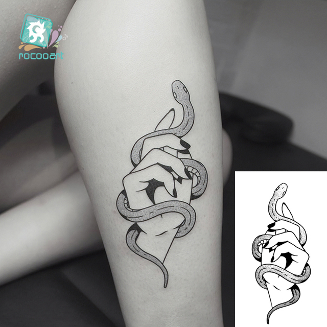 Body Art Black White Drawing Little Element Small Snake Triangle Skull Water Transfer Temporary Fake Tattoos Sticker