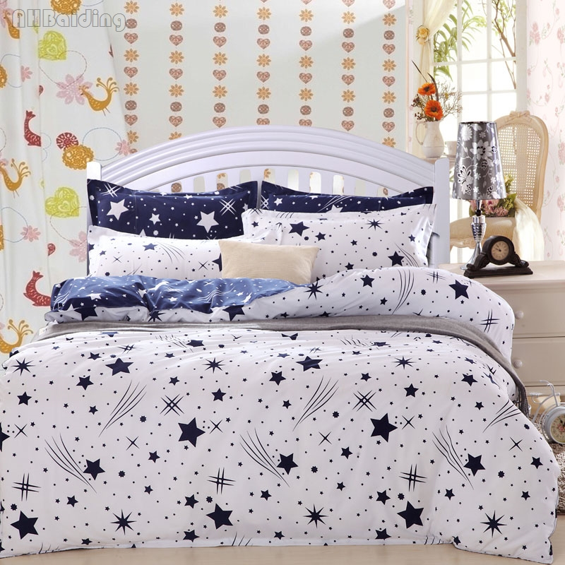 Beauty Meteor Shower Duvet Cover Set with Blue Flat Sheet Bedding Set High Quality Cotton Bed Linen Twin Full Queen King Size