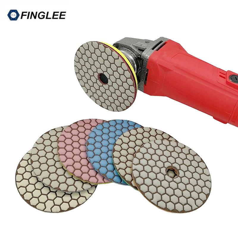 Купить с кэшбэком FINGLEE 7pcs 4inch/100mm Angle Grinder Diamond Flexible Dry Polishing Pad for Stone Granite Concrete Marble