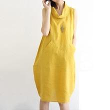 Melflow Women Summer Dress Plus Size Cowl Neck Cocoon Daily Basic Sleeveless Casual Cotton Linen Dress Yellow Vestidos De Festa XXL недорого