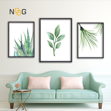 NOOG Modern Green Tropical Plant Leaves Canvas Art Print Poster , Nordic Wall Pictures Kids Room Painting No Frame