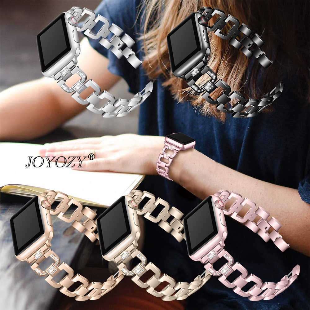 Joyozy ze stali nierdzewnej stalowy pasek na pasek do Apple Watch Rhinestone pierścionek z diamencikami 38mm 42mm do zegarka Apple Watch 40mm 44mm seria 4 5 3 2 1