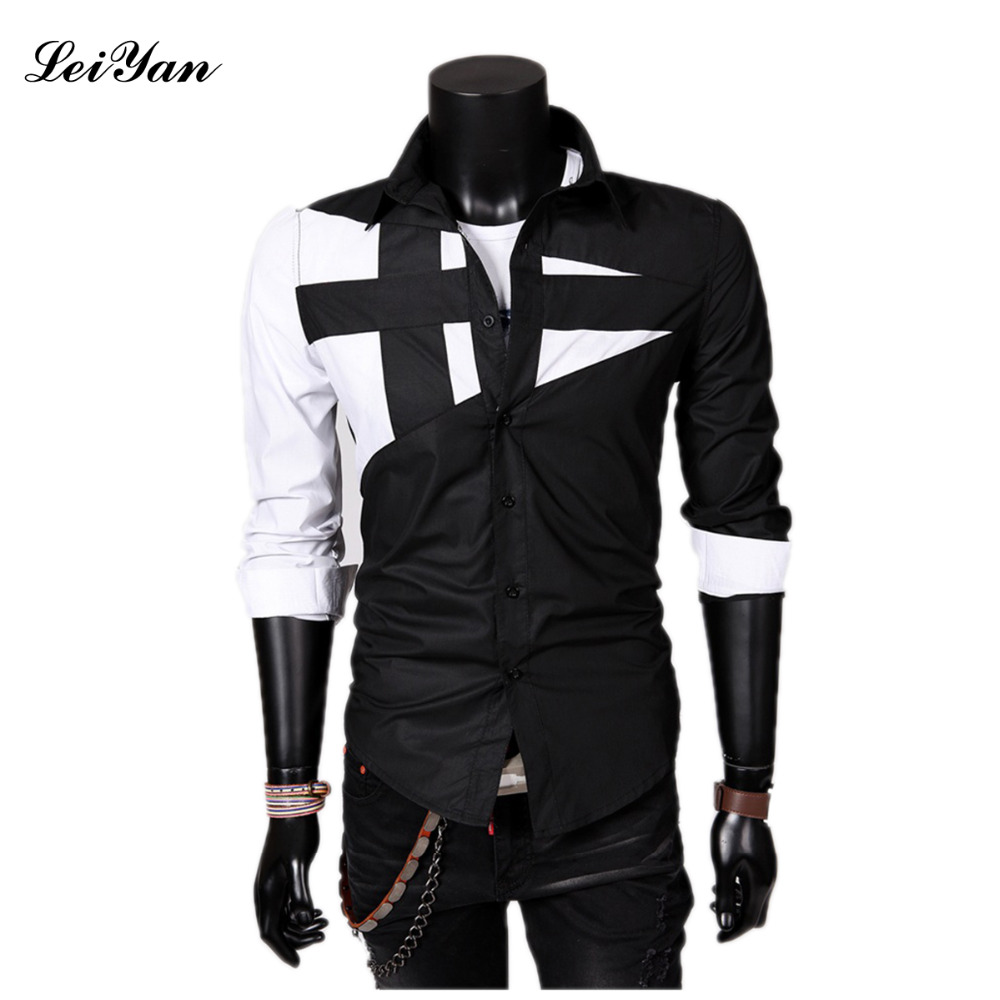 Daddy Chen 2018 New Mens clothing Spring New Fashion Brand Mens Patchwork Shirts Men Lon ...