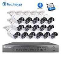 H.265 16CH 2MP 5MP POE NVR видеонаблюдения Системы 16 шт. ИК Открытый 1080 P аудио запись IP Камера P2P комплект видеонаблюдения 4 ТБ