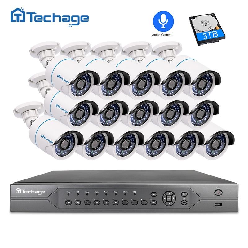 Techage 16CH 2MP 3MP 5MP POE NVR CCTV Sistema de Seguridad 16 piezas al aire libre 1080 p grabación de Audio cámara IP P2P sistema de vigilancia de vídeo