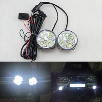 2Pcs Hot New 4LED 12 24V Car Auto White Round Off Road Led DRL Daytime Running