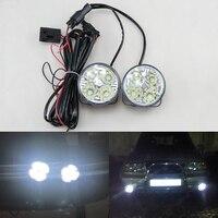 2 개 핫 새로운 4LED 12/24 볼트 자동차 자동 화이트 라운드 오프로드 DRL 낮 실행 조명 안개 주차 램프 경고 빛 자동차 스타일링