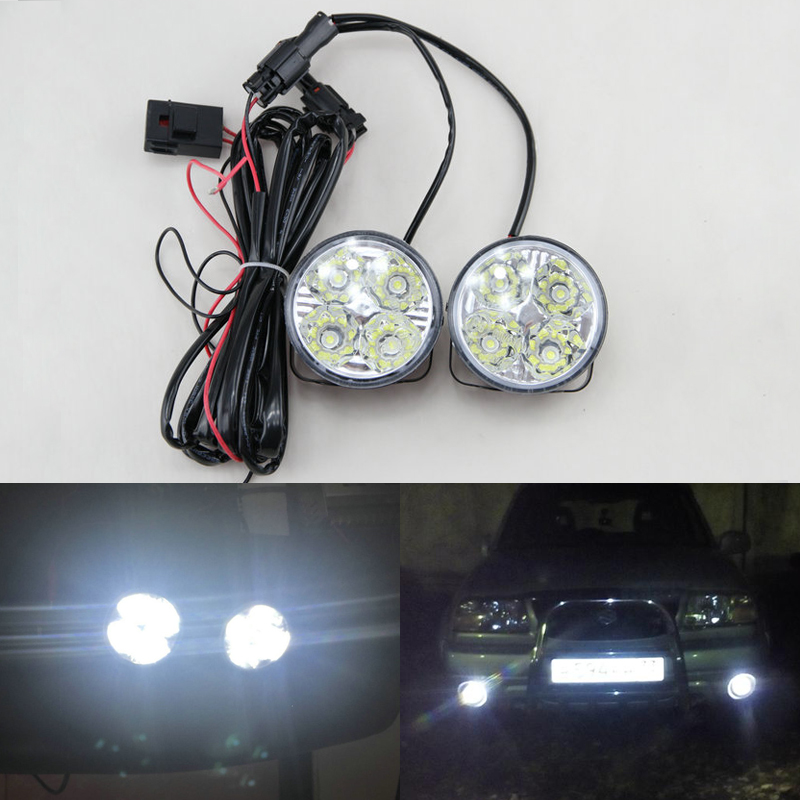2Pcs Hot New 4LED 12/24V Car Auto White Round Off road led DRL Daytime Running Lights fog parking lamp warning light car styling cyan soil bay 2pcs white 12 4014 smd led eagle eye motorcycle car parking fog backup light drl lamp 23mm