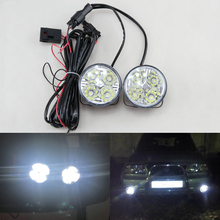 2Pcs Hot New 4LED 12/24V Car Auto White Round Off road led DRL Daytime Running Lights fog parking lamp warning light car styling