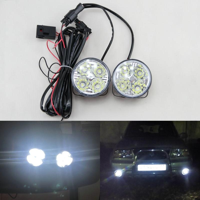 2Pcs Hot New 4LED 12/24V Car Auto White Round Off road led DRL Daytime Running Lights fog parking lamp warning light car styling