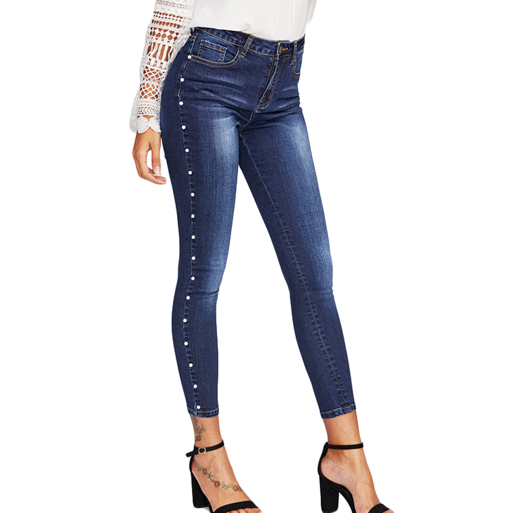 new summer women beaded   jeans   high waist pencil pants trousers slim leggings female casual washed denim pants   jeans   bottoms