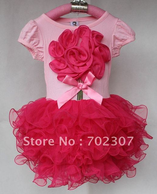 b2w2 baby girl flower dress tutu girl pink with hot pink dress girl summer cotton dresses D8920