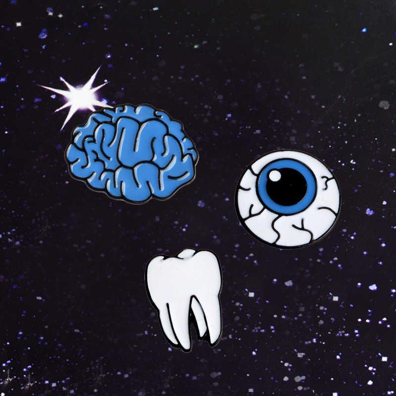 Acessórios Bonito Dos Desenhos Animados do dia das bruxas Do Cérebro Olho Dente Broche de Metal Pinos Botão Pinos Presente Da Menina de Moda de Jóias Por Atacado