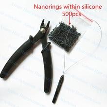 500 шт. силиконовые Nano кольца+ 1 шт. Nano плоскогубцы+ 1 шт. NanoRings крючок иглы для NanoRings волос наборы инструментов