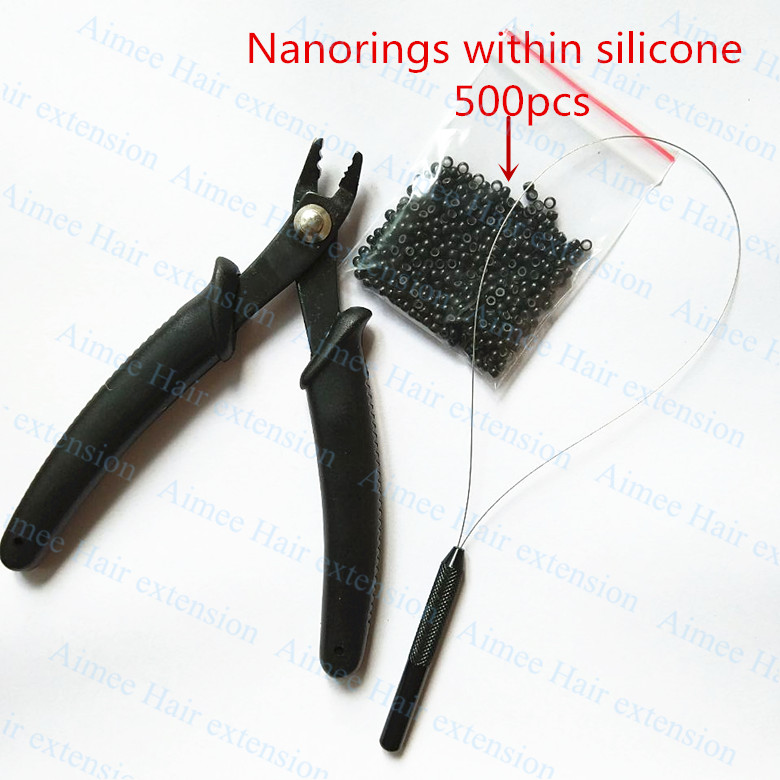 500pcs Silicone Nano rings+1pcs Nano plier+1 pcs NanoRings hook needle for NanoRings hai ...