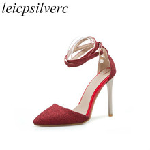Women Sandals Super High Heels Shoes 2018 Summer Spring Pointed Toe Buckle  New Sexy Fashion Casual Party Wedding Gold Silver Red 31f12d9a9aec