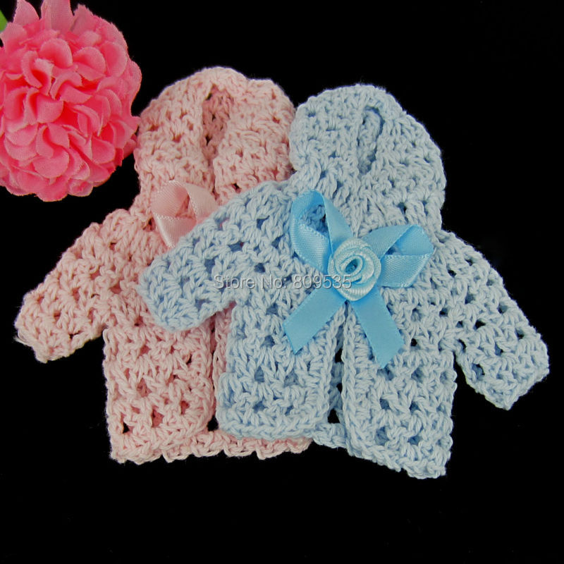 Free shipping 12 miniature crochet hat sweater flower ribbon baby shower baptism for party - Decoration au crochet ...