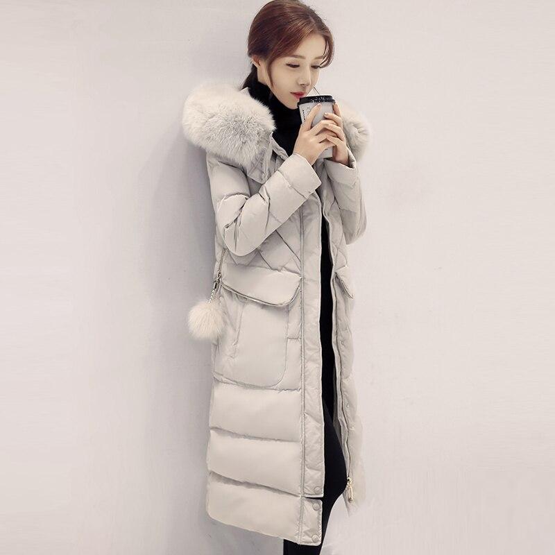 90% White Duck Down Jackets Women Fashion Big Fur Collar Hooded Thicken Long Down Coat Ladies Casual Down Coats FP1798