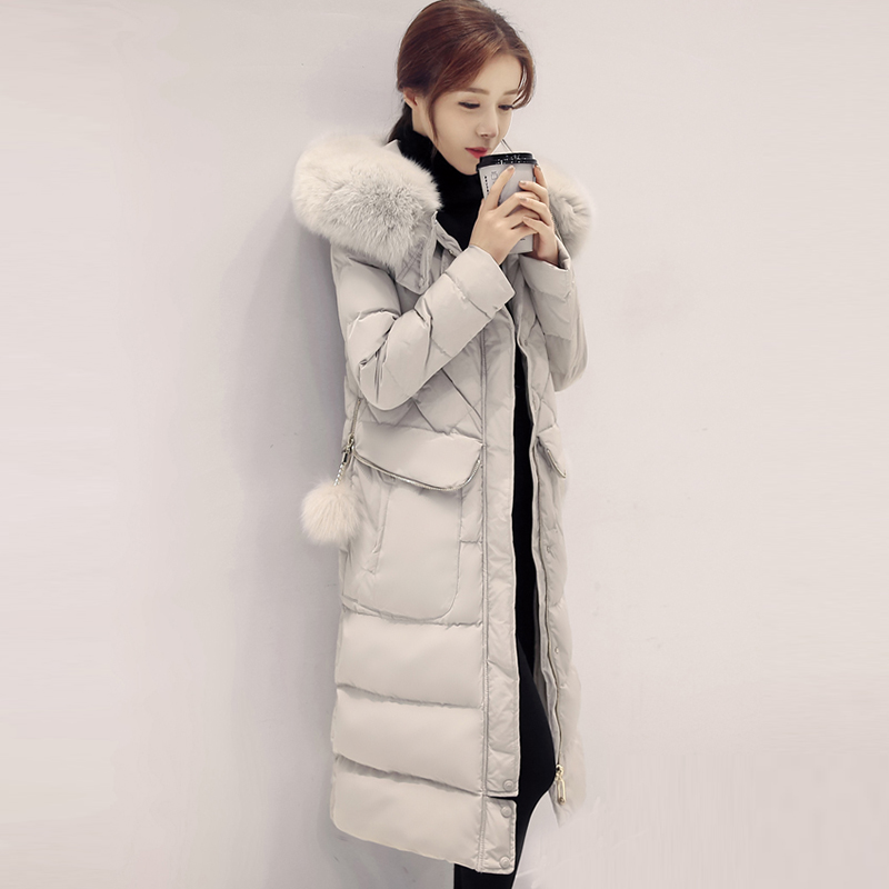 90% White Duck   Down   Jackets Women Fashion Big Fur Collar Hooded Thicken Long   Down     Coat   Ladies Casual   Down     Coats   FP1798