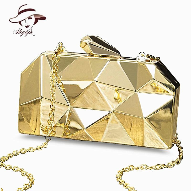 Women Handbag Metal Day Clutches Purse Top High Quality Mini Party Evening Bags Girls Shoulder Messenger Bag Gold Chain Box Bag box clutch purse