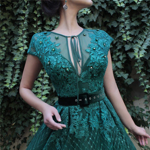 Image 2 - Green Dubai Sleeveless Handmade Flowers Prom Dresses 2020 Diamond Luxury Beach Prom Gowns Serene Hill BLA60759