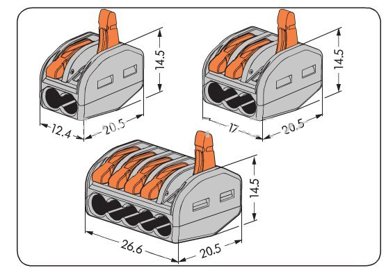 Wago 222-413 100 Teile/los PCT-213 wago 222-413 Universelle kompakte drahtkabelanschluss kabelstecker wago