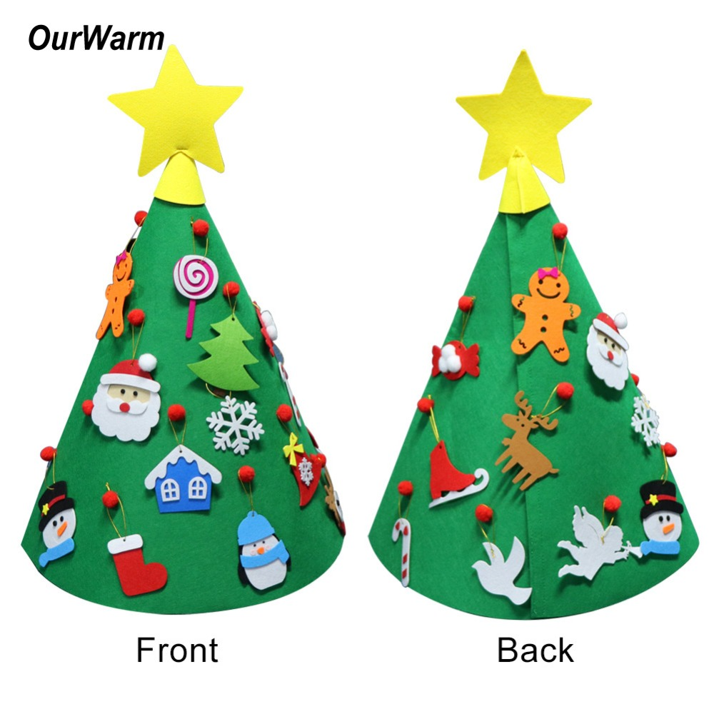 OurWarm 3D DIY Felt Christmas Tree For Toddlers Santa Christmas Tree ...