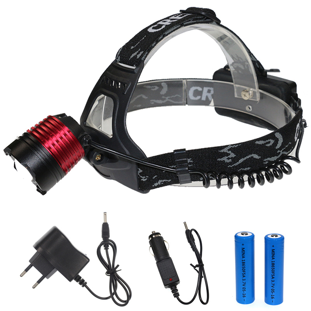 Powerful headlamp cree xml t6 led head lamp focus 18650 rechargeable headlight tactical head flashlight with ac/car charger