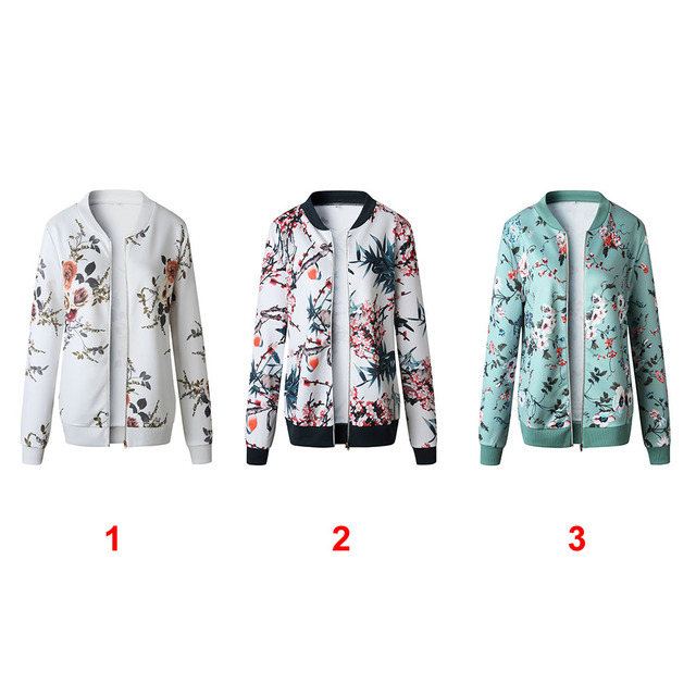 Retro Zipper Bomber Army Coat Floral Flight Biker 5