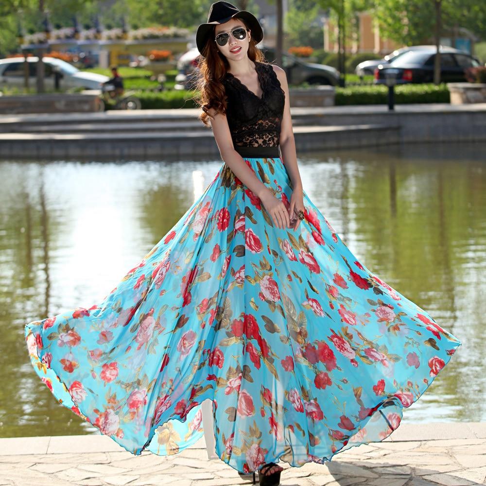 Online Get Cheap Floral Chiffon Maxi Skirt Plus Size -Aliexpress ...