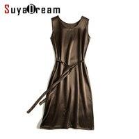 Women Satin Dress Luxury Natural Silk Long Dress Solid Mulberry Silk Classic Dress BLACK Sleep Dress