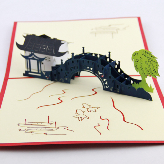 Cubic life 3D Jiangnan Water Village greeting card small bridge hand - - - - - - - - - - - - - - - - - - - the construction of taj mahal tourism 3d cubic life manual paper card card creative stereo