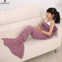 Spring Bedding Sofa Mermaid Blanket Wool Knitting Fish Style Little Tail Blankets Warm Sleeping Child Kids