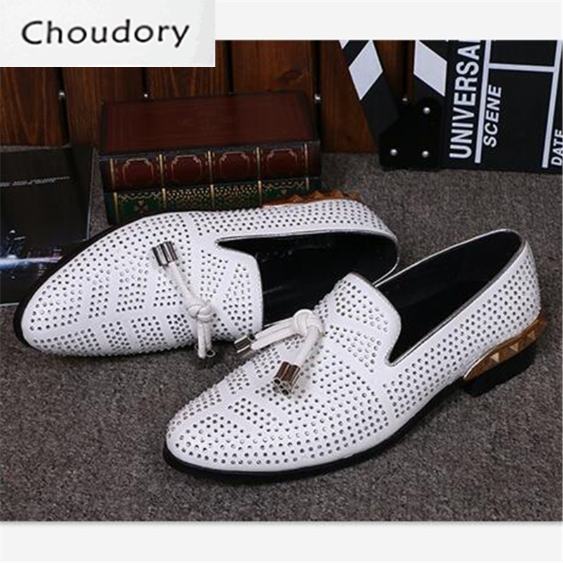 Choudory Cutouts Breathable Fringe Slip-On Men Shoes Casual Pointed Toe Comfortable White Metal Decoration Summer Loafers Men