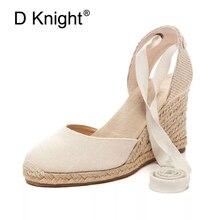 Gratë kyçin e këmbës Espadrilles Sandalet e krahëve 2018 Canvas Verë me takë të lartë të modës Dantella e grave Platforma e grave sandale me madhësi të mëdha