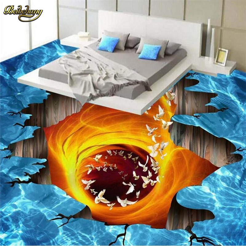 Beibehang Custom Photo 3D Floor Painting Wallpaper Volcanic Lava Bathroom Living Room 3D Floor Tile Painting Papel De Parede