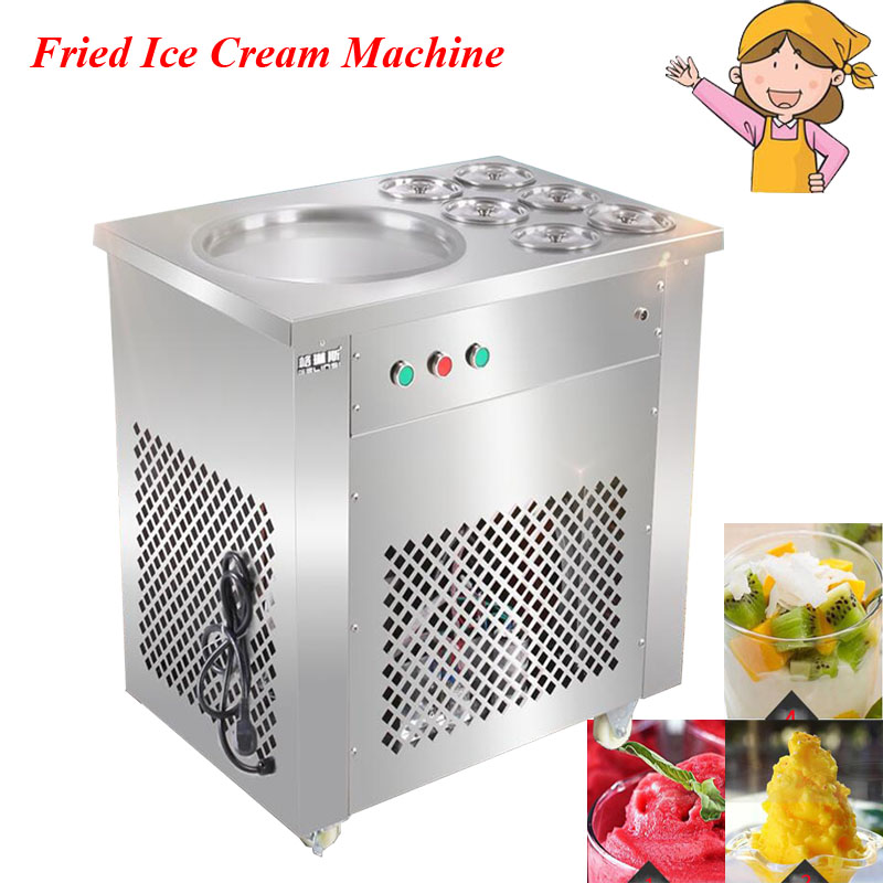 Full Stainless Steel One Pan Fried Ice Cream Roll Machine Pan Fry Flat Ice Cream Maker Yoghourt Fried Ice Cream HX-CBJ-22 2017 single pan fried ice cream roll machine economical model square pan fried ice machine fry yoghourt machine
