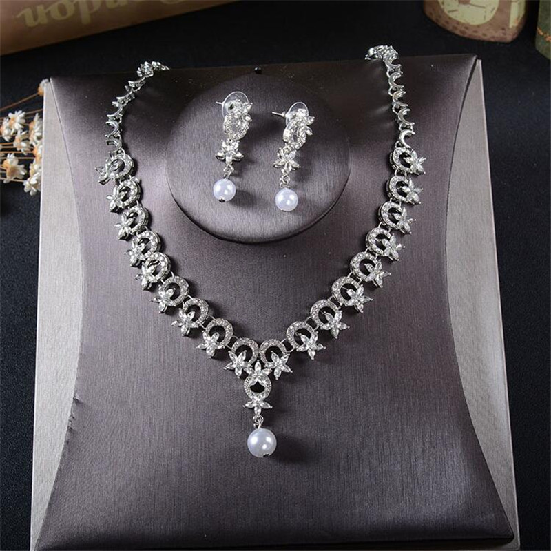 Cc Jewelry Bridal Sets Wedding Necklace Earring Bracelet Set Pearl Party Accessories For Women Engagement Tl211 In From