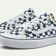Original VANS Blue and white checkerboard coup Men and Womens canvas shoes 8be48d6434c0