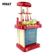 OCDAY Multifunctional Children Play Toy Girl Baby Toy Large Kitchen Cooking Simulation Table Model Utensils Toys Hot Selling