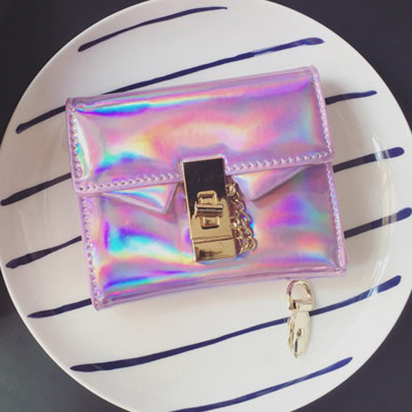 ABDB Women Fashion Hologram Handbag Laser-Coin Purse Wallet Card Holder Bag ...