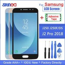 Display LCD Para Samsung Galaxy J2 Pro 2018 Tela de Toque Digitador Assembléia Para Samsung j2Pro SM J250 J250 J250F Adesivo + ferramentas