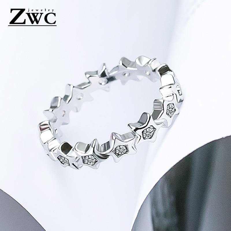 ZWC Мода Шарм-звезда Циркон из нержавеющей стали кольца для мужчин и женщин Свадебные обручальные женские кристаллы кольцо унисекс ювелирные изделия - Цвет основного камня: Silver