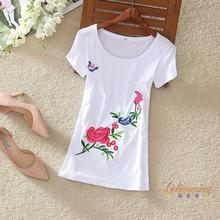 2017 summer new wild national wind embroidered t shirt women short sleeve retro art tattoo Chinese wind embroidery crop top fema